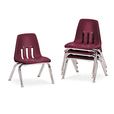 "9000 Series Classroom Chairs, 10"" Seat Height, Wine/Chrome, 4/Ca"