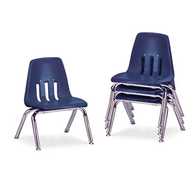 "9000 Series Classroom Chairs, 10"" Seat Height, Navy/Chrome, 4/Ca"