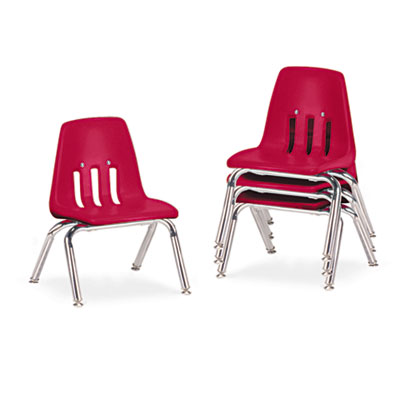 "9000 Series Classroom Chairs, 10"" Seat Height, Red/Chrome, 4/Car"
