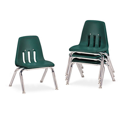 "9000 Series Classroom Chairs, 10"" Seat Height, Forest Green/Chro"