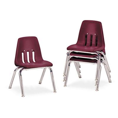 "9000 Series Classroom Chairs, 12"" Seat Height, Wine/Chrome, 4/Ca"
