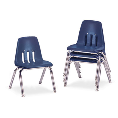 "9000 Series Classroom Chairs, 12"" Seat Height, Navy/Chrome, 4/Ca"