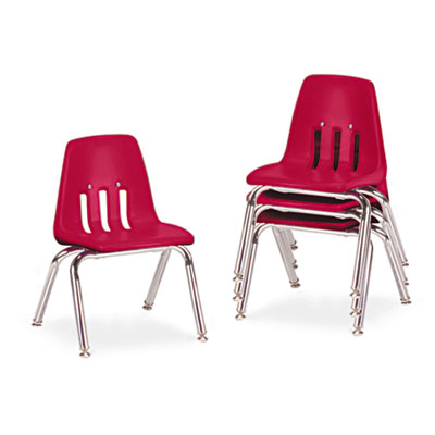 "9000 Series Classroom Chairs, 12"" Seat Height, Red/Chrome, 4/Car"