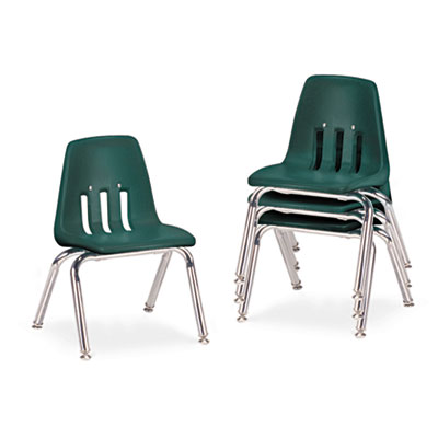 "9000 Series Classroom Chairs, 12"" Seat Height, Forest Green/Chro"