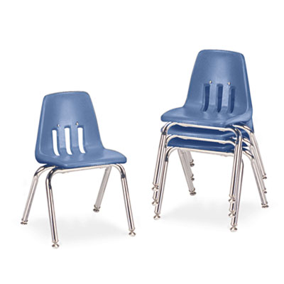 """9000 Series Classroom Chairs, 14"""" Seat Height, Blueberry/Chrome,"""