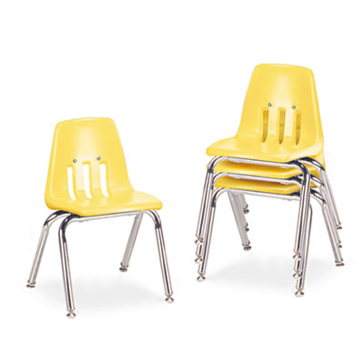 "9000 Series Classroom Chairs, 14"" Seat Height, Squash/Chrome, 4/"