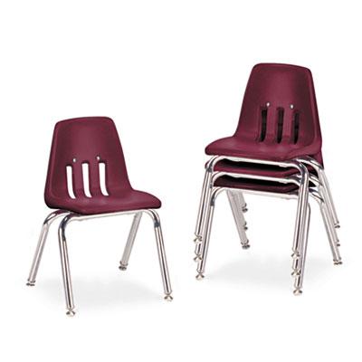 "9000 Series Classroom Chairs, 14"" Seat Height, Wine/Chrome, 4/Ca"