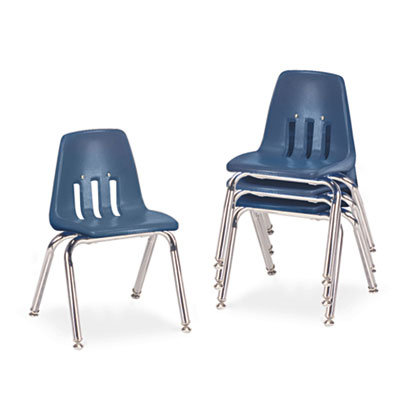 "9000 Series Classroom Chairs, 14"" Seat Height, Navy/Chrome, 4/Ca"