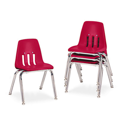 "9000 Series Classroom Chairs, 14"" Seat Height, Red/Chrome, 4/Car"