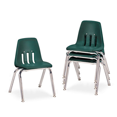 "9000 Series Classroom Chairs, 14"" Seat Height, Forest Green/Chro"