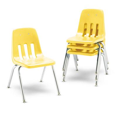 "9000 Series Classroom Chairs, 16\"" Seat Height, Squash/Chrome, 4/"