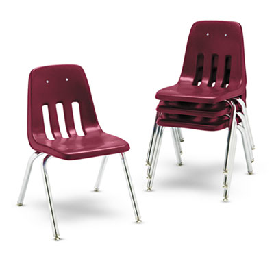 "9000 Series Classroom Chairs, 16"" Seat Height, Wine/Chrome, 4/Ca"
