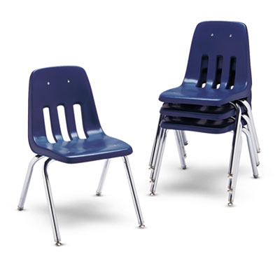 "9000 Series Classroom Chairs, 16"" Seat Height, Navy/Chrome, 4/Ca"