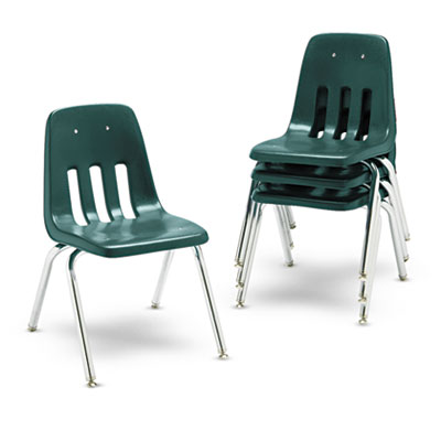 """9000 Series Classroom Chairs, 16\"""" Seat Height, Forest Green/Chro"""