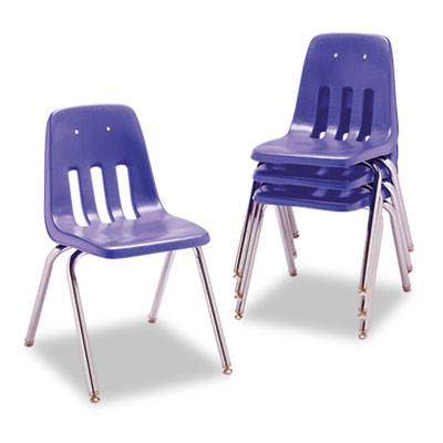 "9000 Series Classroom Chair, 18"" Seat Height, Blueberry/Chrome,"