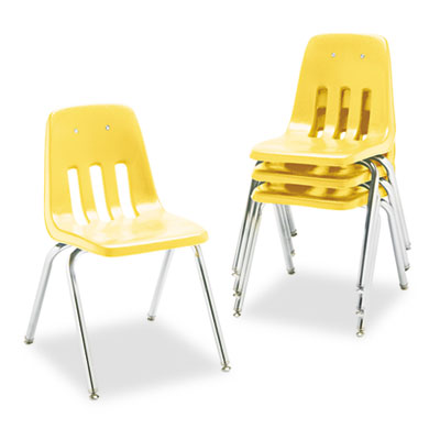 "9000 Series Classroom Chair, 18"" Seat Height, Squash/Chrome, 4/C"
