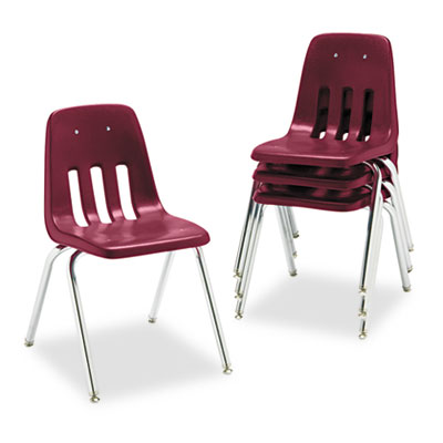 "9000 Series Classroom Chair, 18"" Seat Height, Wine/Chrome, 4/Car"