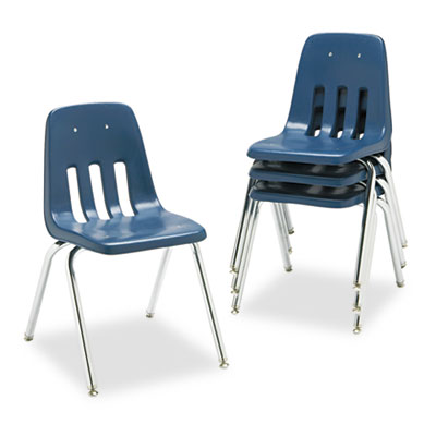 "9000 Series Classroom Chair, 18"" Seat Height, Navy/Chrome, 4/Car"