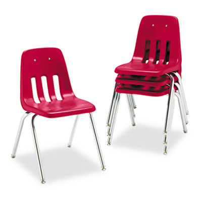 "9000 Series Classroom Chair, 18"" Seat Height, Red/Chrome, 4/Cart"