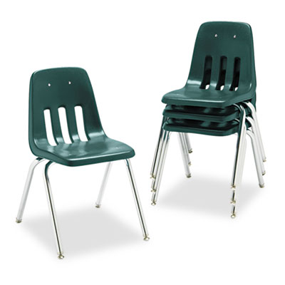 "9000 Series Classroom Chair, 18"" Seat Height, Forest Green/Chrom"