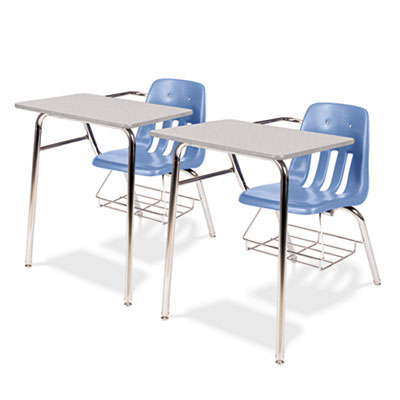 9400 Series Chair Desk, 21w x 33-1/2d x 30h, Gray Nebula/Blueber