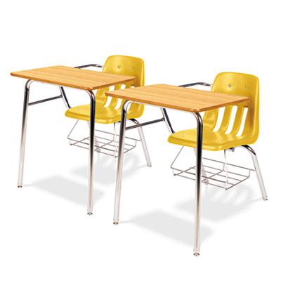 9400 Series Chair Desk, 21w x 33-1/2d x 30h, Medium Oak/Squash,