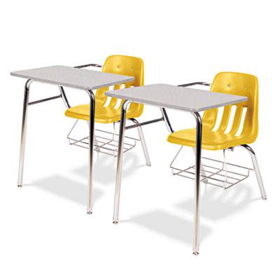 9400 Series Chair Desk, 21w x 33-1/2d x 30h, Gray Nebula/Squash,