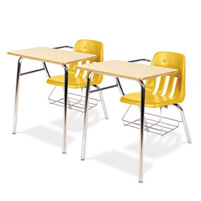 9400 Series Chair Desk, 21w x 33-1/2d x 30h, Fusion Maple/Squash