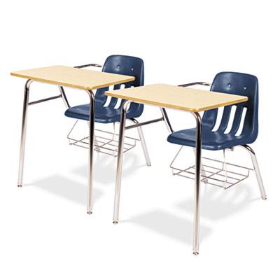 9400 Series Chair Desk, 21w x 33-1/2d x 30h, Fusion Maple/Navy,