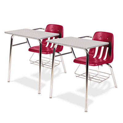 9400 Series Chair Desk, 21w x 33-1/2d x 30h, Gray Nebula/Red, 2/