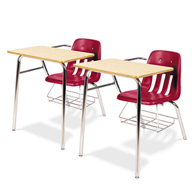 9400 Series Chair Desk, 21w x 33-1/2d x 30h, Fusion Maple/Red, 2
