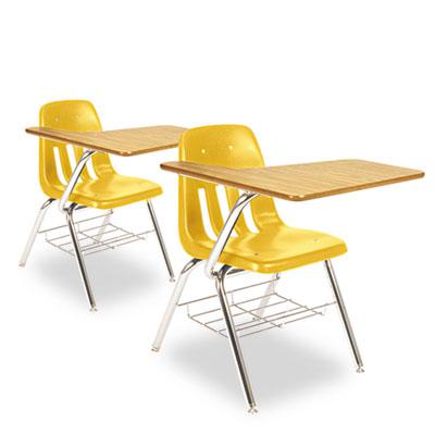 9700 Series Chair Desk, 18-3/4w x 31d x 30-1/2h, Medium Oak/Squa