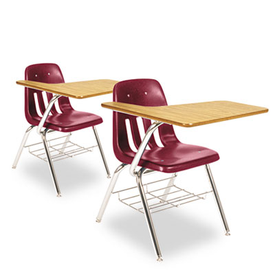 9700 Series Chair Desk, 18-3/4w x 31d x 30-1/2h, Medium Oak/Wine