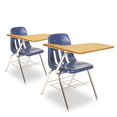 9700 Series Chair Desk, 18-3/4w x 31d x 30-1/2h, Medium Oak/Navy