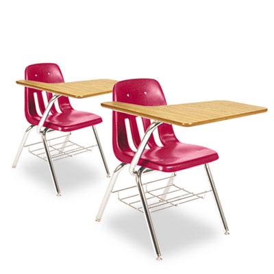9700 Series Chair Desk, 18-3/4w x 31d x 30-1/2h, Medium Oak/Red,