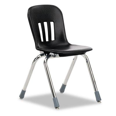 "Metaphor Series Classroom Chair, 14-1/2"" Seat Height, Black/Chro"
