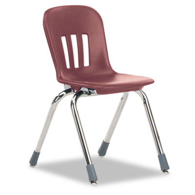 "Metaphor Series Classroom Chair, 14-1/2"" Seat Height, Wine/Chrom"