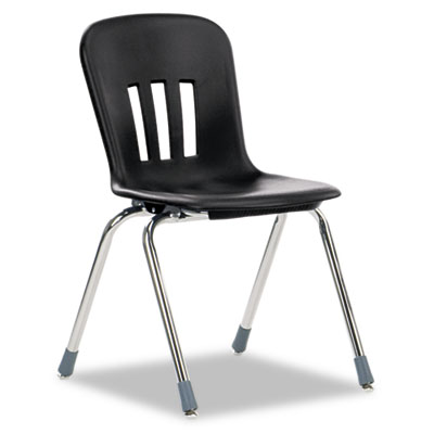 "Metaphor Series Classroom Chair, 18"" Seat Height, Black/Chrome,"