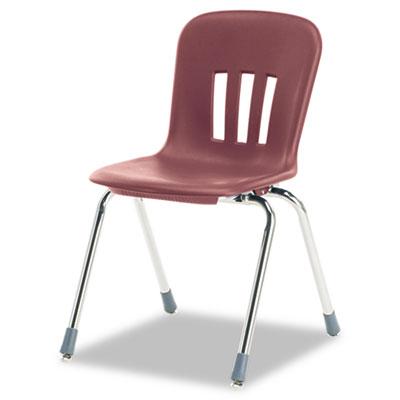 "Metaphor Series Classroom Chair, 18"" Seat Height, Wine/Chrome, 4"