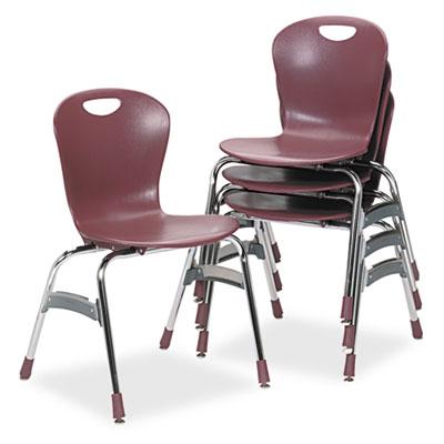 "Zuma Ergonomic Stack Chair, 18"" High Bucket Seat, Wine, 4/Carton"