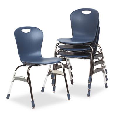 "Zuma Ergonomic Stack Chair, 18"" High Bucket Seat, Navy, 4/Carton"
