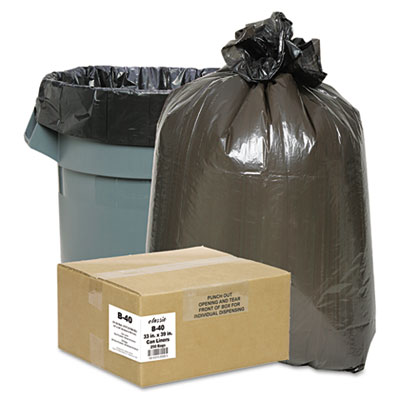 2-Ply Low-Density Can Liners, 7-10gal, .6mil, 24 x 23, Black, 50