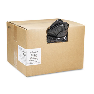 2-Ply Low-Density Can Liners, 16gal, .6mil, 24 x 33, Black, 500/