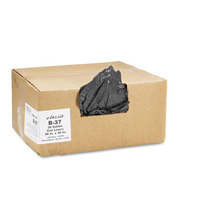 2-Ply Low-Density Can Liners, 30gal, .6mil, 30 x 36, Black, 250/