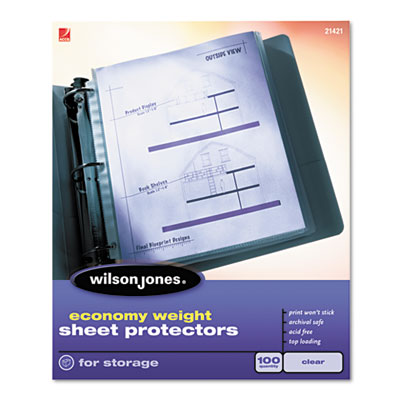 Economy Weight Sheet Protector, Non-Glare Finish, Clear, 100/Box