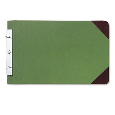 Canvas Sectional Post Binder, 8-1/2 x 14, 4-1/4 Center, Green