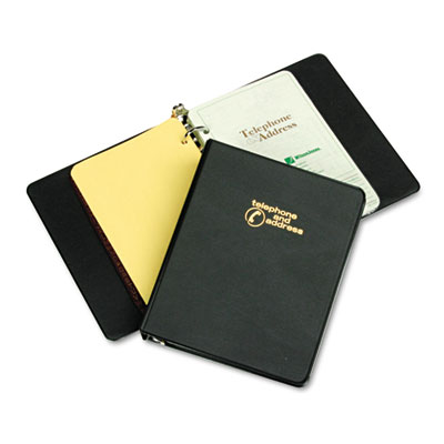"Looseleaf Phone/Address Book, 1"" Capacity, 5-1/2 x 8-1/2, Black"