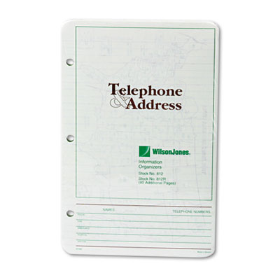 Looseleaf Phone/Address Book Refill, 5-1/2 x 8-1/2, 80 Sheets/Pa