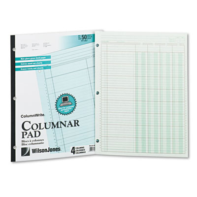 Accounting Pad, Four Eight-Unit Columns, Two-sided, Letter, 50-S