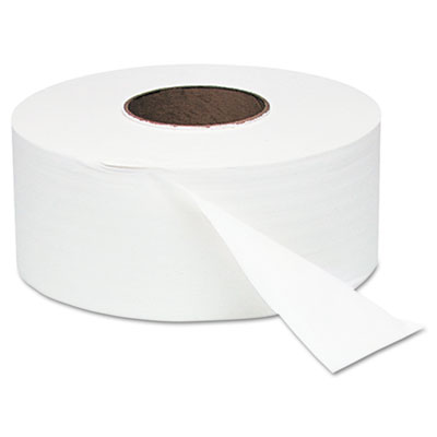 "White Jumbo Roll One-Ply Bath Tissue, 9"" dia, 2000ft, 12 Rolls/C"